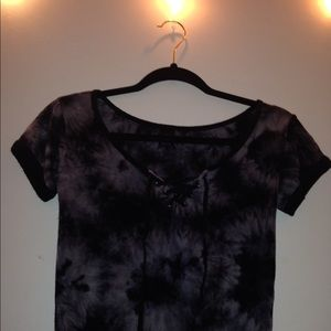 Cropped tye-dye short-sleeve